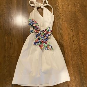 Vineyard Vines white Kentucky Derby halter dress